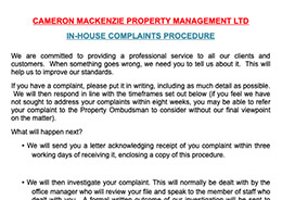 Cameron McKenzie Complaints Procedure